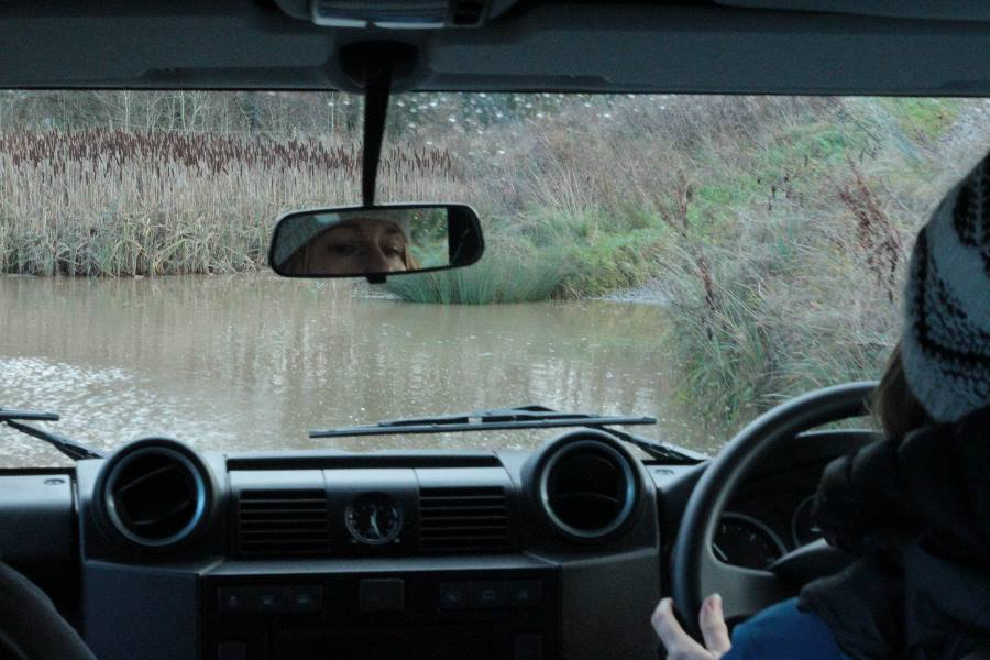 Elaine Clarke driving through the Lake